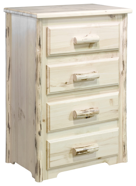 Montana Collection 4-Drawer Chest, Clear Lacquer Finish.
