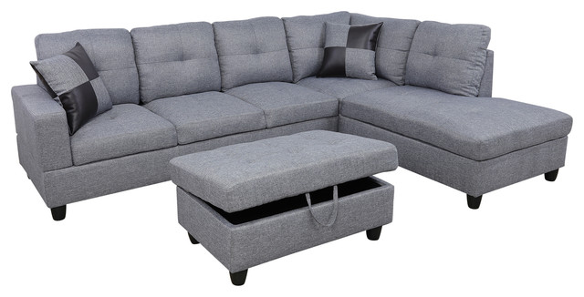 Incredible Silver Right Hand Facing Sectional Short Links Chair Design For Home Short Linksinfo