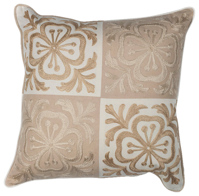 "L131 Beige Damask, 18""x18"" Square Pillow."