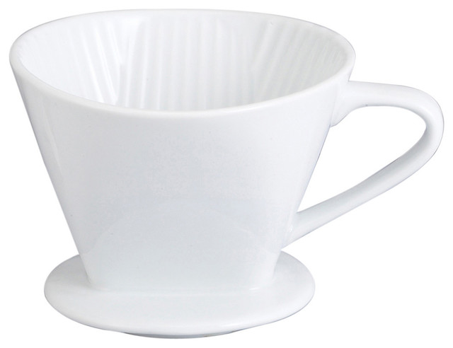 Harold Import Co. 4 Cup White Porcelain Cone Coffee Maker.