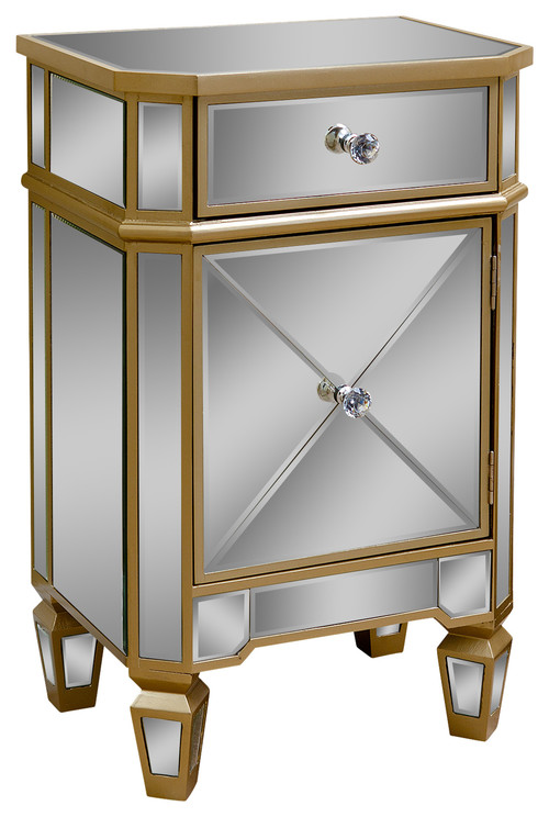 Abbyson Living Alexis Gold Trim Mirrored Cabinet Chest
