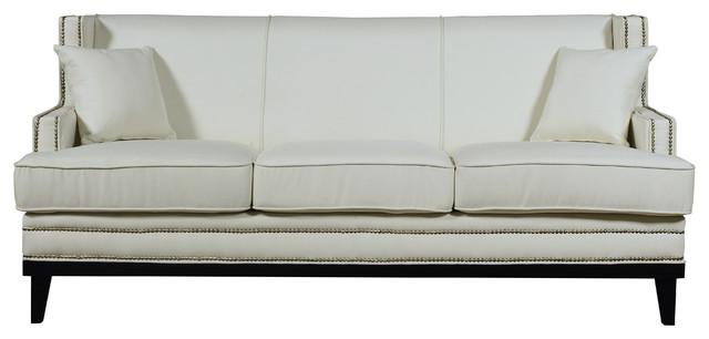Charmant Modern Soft Linen Fabric Sofa With Nailhead Trim Details   Beige
