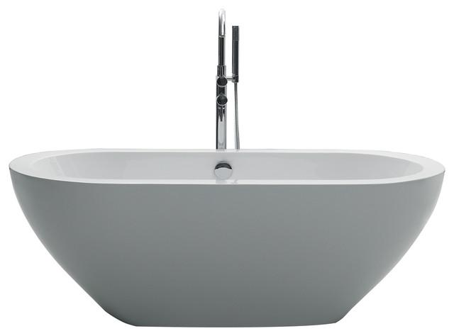 "Eviva Lina 67"" White Free Standing Strengthen Acrylic Bathtub."