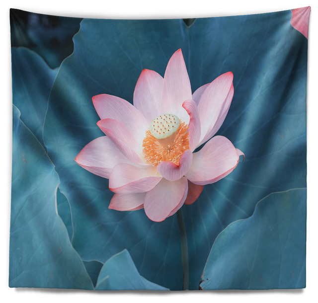 Blooming Pink Lotus Flower Oversized Beach Wall Tapestry Asian