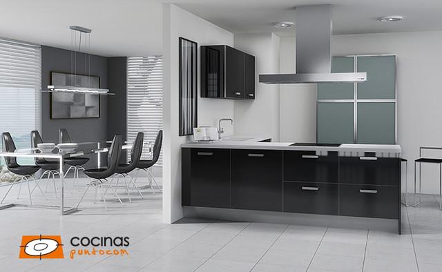 Diseño de cocina comedor en L, moderna, pequeña, sin isla, con fregadero de un seno, puertas de armario negras, electrodomésticos con paneles y suelo de baldosas de cerámica