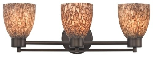 Art Glass Vanity Light : Modern Bathroom Light With Brown Art Glass in Bronze - Modern - Bathroom Vanity Lighting - by ...