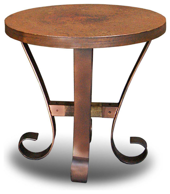 Rustic Copper Top Round Chair Side Table Mediterranean Side Tables And End Tables By San Carlos Imports Llc