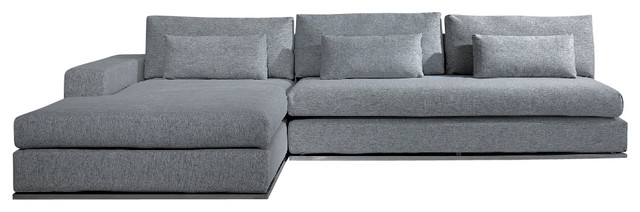 Grey Sectional Couches ashfield modern light grey fabric sectional sofa - contemporary
