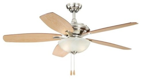 "Vaxcel Valencia 52"" Ceiling Fan - Satin Nickel."
