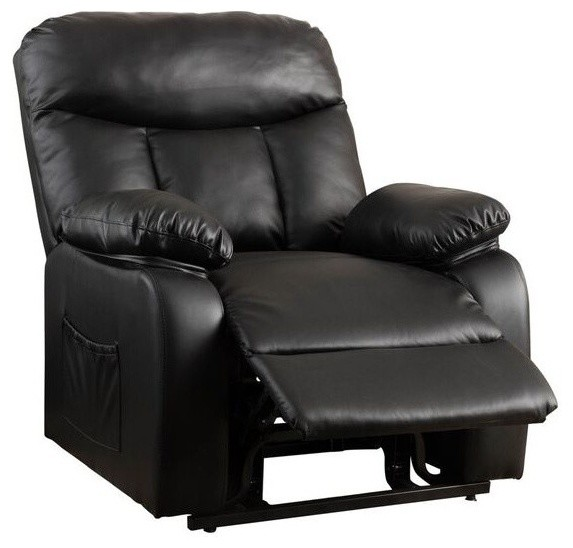 Edenton Leather Lift Up Recliner Chair, Black Contemporary Lift Chairs