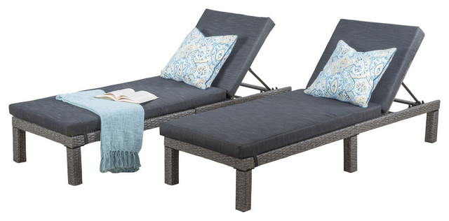 GDF Studio Venice Outdoor Black Wicker Chaise Lounge, Cushions, Set of 2