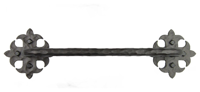 Rustic fleur de lis wrought iron towel bar bhtb1 rustic towel bars by bushere son iron - Fleur de lis towel bar ...