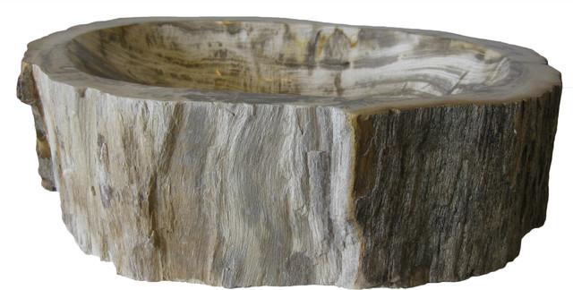 Novatto Petrified Fossil Wood Vessel Sink, Irregular Shape And Color.