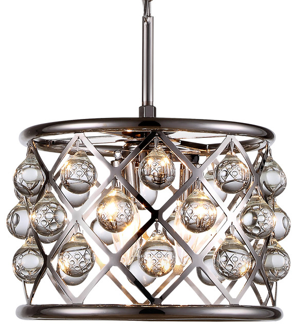 "Modern 60 70 90cm Crystal Led Chandeliers Ceiling Lights: Crystal Grid Hoop 3-Light 12"" Chandelier"