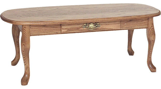Solid Oak Queen Anne Coffee Table With Drawer Autum Traditional Tables
