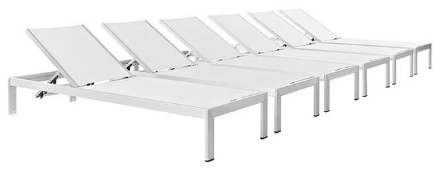 Shore Outdoor Patio Aluminum Chaises, Set Of 6, Silver White.