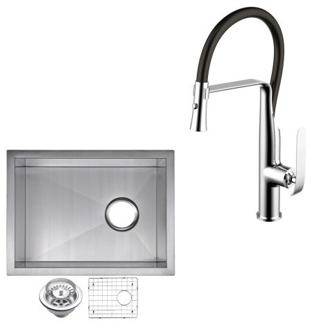 "Under Mount Stainless Steel 15"" Single Bowl Bar Sink And Faucet Set."