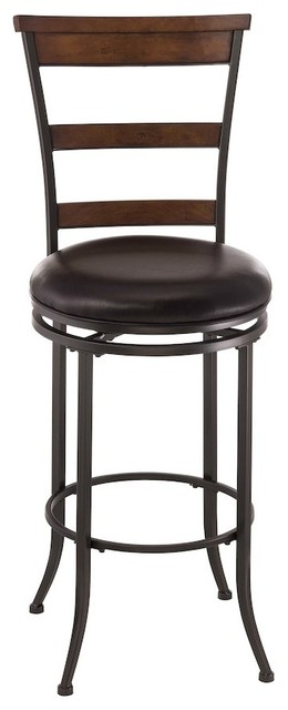 Astounding Cameron Swivel Ladder Back Counter Stool Charcoal Gray Metal Chestnut Wood Forskolin Free Trial Chair Design Images Forskolin Free Trialorg