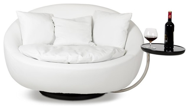 Divani Casa Alba, Modern Leatherette Swivel Round Lounge Chair  Contemporary Indoor Chaise
