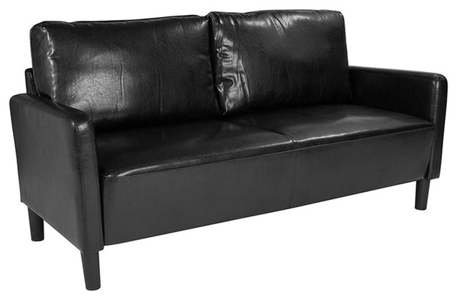 Offex Contemporary Upholstered Sofa with Loose Back Cushions, Black Leather