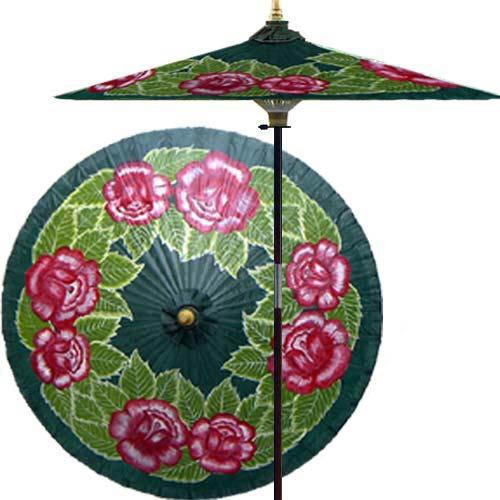 Summer Roses (Forest Green) Outdoor Patio Umbrella