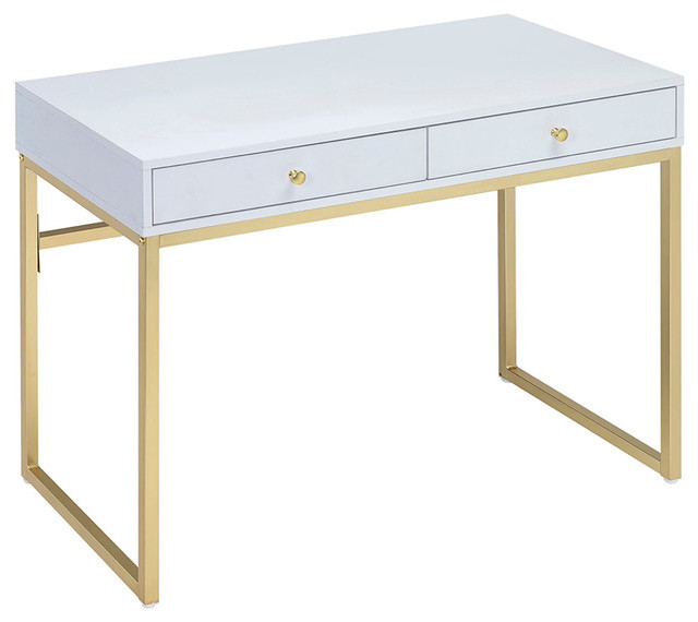 Coleen Desk White And Brass