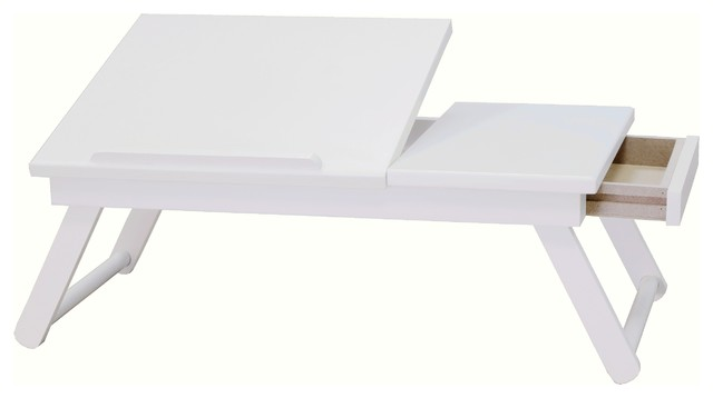 Wooden Lap Desk Flip Top With Drawer And Foldable Legs In White Contemporary Desks