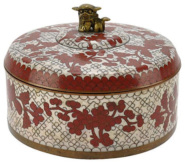 Consigned Chinese Cloisonné Enamel Foo Dog Box Asian Decorative Custom Chinese Decorative Boxes