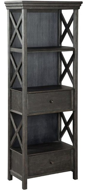 Ashley Casual Wood Cabinet, Black And Gray.
