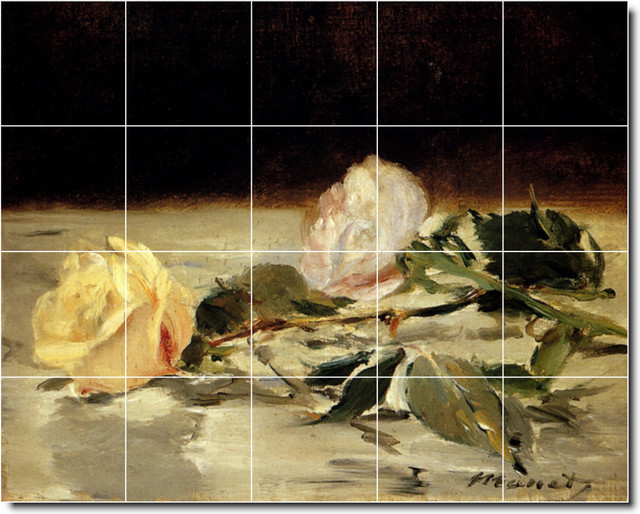 Picture tiles llc edouard manet flowers painting for Ceramic mural painting
