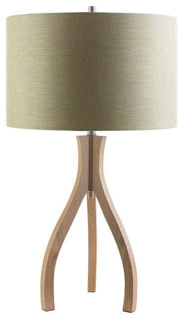 Duxbury Modern Wood Tripod Table Lamp, Green Scandinavian Table Lamps