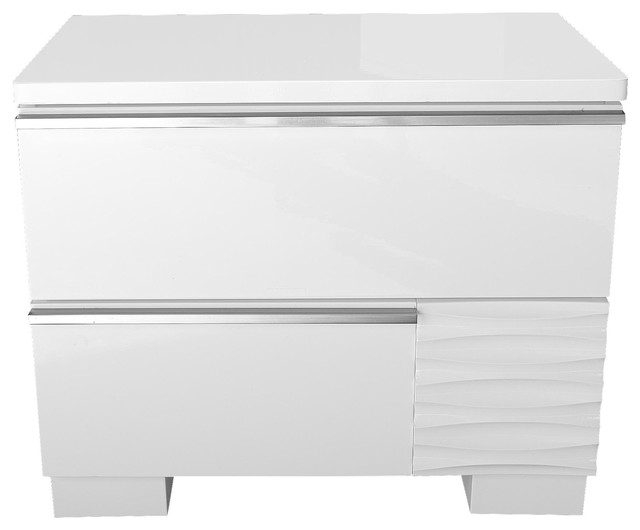 Athens White Lacquer 2 Drawer Bedroom Nightstand Contemporary Nightstands And Bedside Tables By Furniture Import Export Inc
