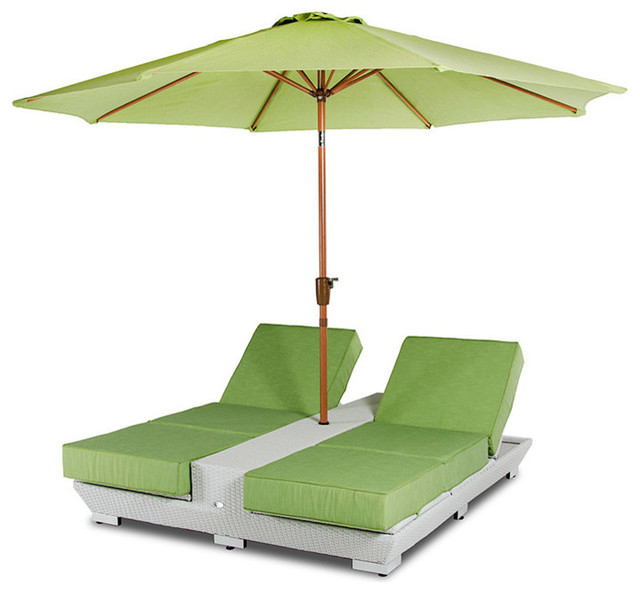 Gemini Two Lounge Chairs with BuiltIn Base and Umbrella Patio Set – Lounge Chair Umbrella