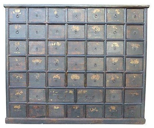 Large Antique Chinese Apothecary Cabinet Chest Modern Storage Cabinets