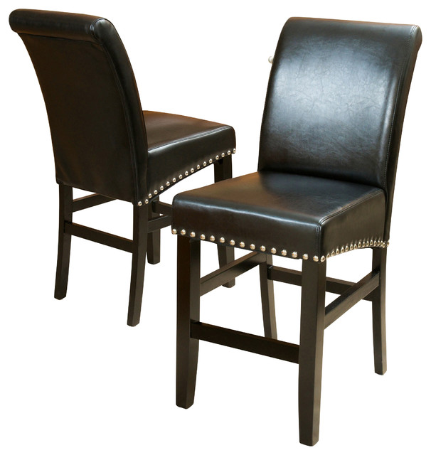 Clifton Black Leather Counter Stools, Set Of 2.