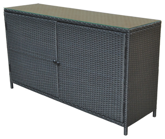Wicker Rattan Buffet Serving Cabinet Table Storage Counter, Black