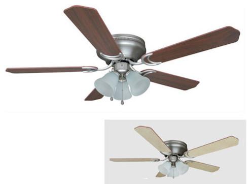 Satin Nickel 52 Quot Hugger Ceiling Fan With Light Kit