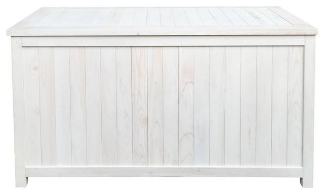 Amazing Pelican Hill Wood Storage Box, White Farmhouse Deck Boxes And Storage
