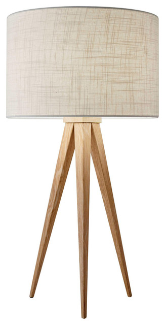 Director 1-Light Table Lamps, Natural Wood.