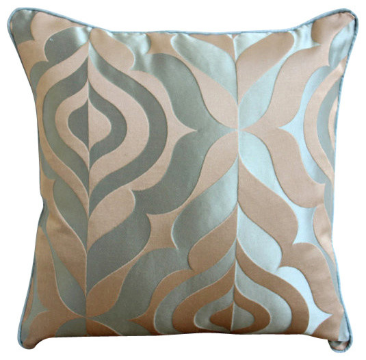 The HomeCentric - Blue Jacquard Weave Vintage Damask Pillows Cover, Teal Luxury - View in Your ...