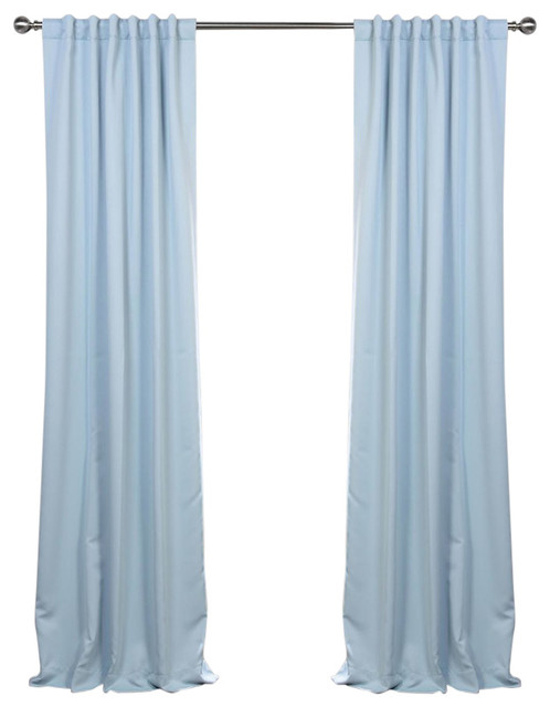 "Frosted Blue Blackout Curtain, Set Of 2, 50""x108""."