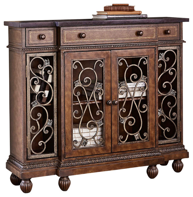 Ambella Home Collection Scrolling Showcase Hall Cabinet  Traditional China Cabinets And Hutches