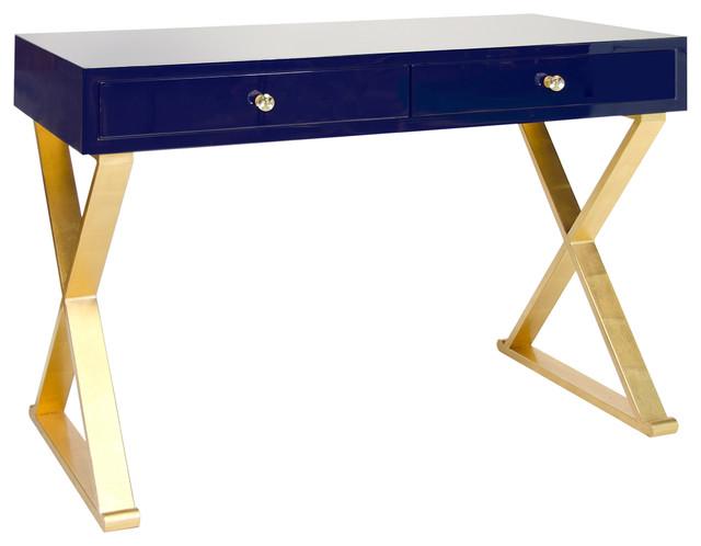 Keating Hollywood Regency Navy Blue Lacquer Gold Desk