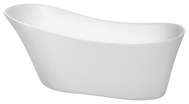 """67"""" Freestanding Bathtub, White With Brushed Nickel Drain And Overflow Trim."""