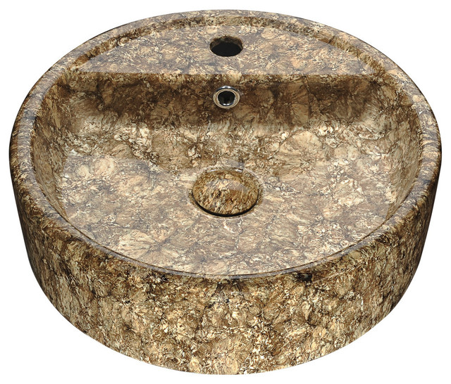 Rhapsody Series Ceramic Vessel Sink, Neolith Marble Finish.