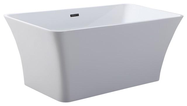 "Helixbath Parva Freestanding Acrylic Bathtub 59"" White With Overflow."