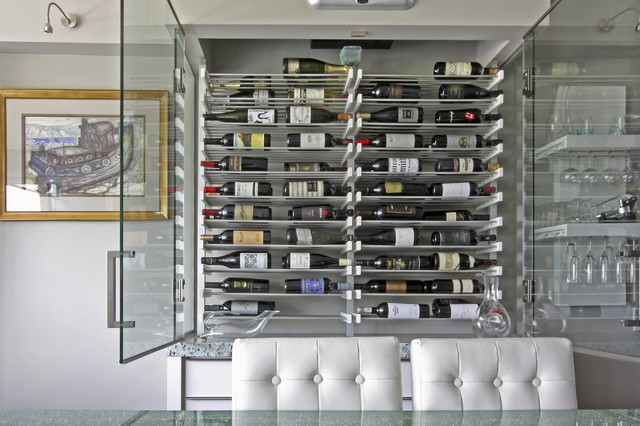 Glass Wine Room In The Dining 3 Contemporary Racks