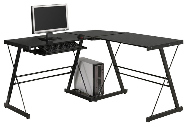 L-Shaped Computer Desk, Silver, Black - Contemporary - Desks And ...