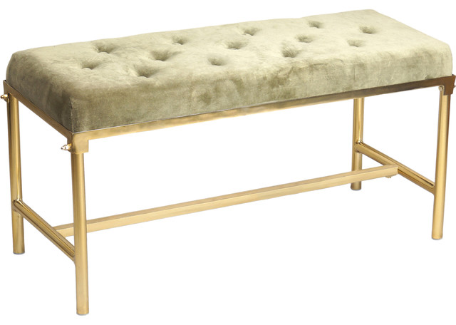 Montaine Iron And Cotton Velvet Brass Bench. -1