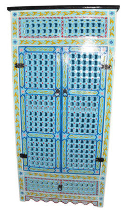 Handpainted Moroccan Cabinet Handmade, Turquoise
